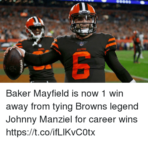 Johnny Manziel: BROWNS Baker Mayfield is now 1 win away from tying Browns legend Johnny Manziel for career wins https://t.co/ifLlKvC0tx