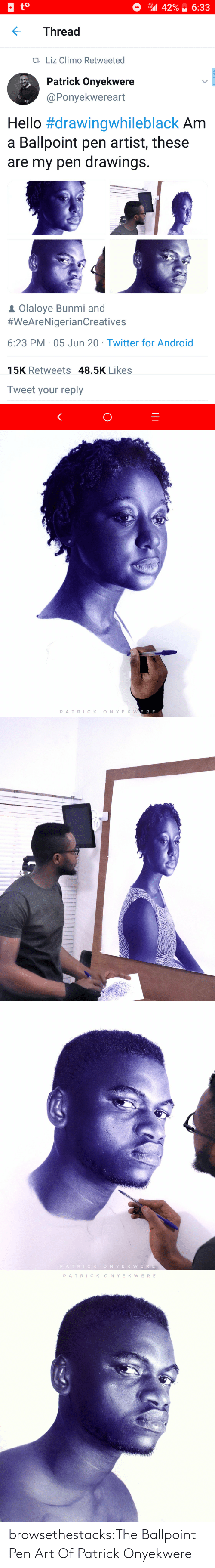 Tumblr, Twitter, and Blog: browsethestacks:The Ballpoint Pen Art Of Patrick Onyekwere