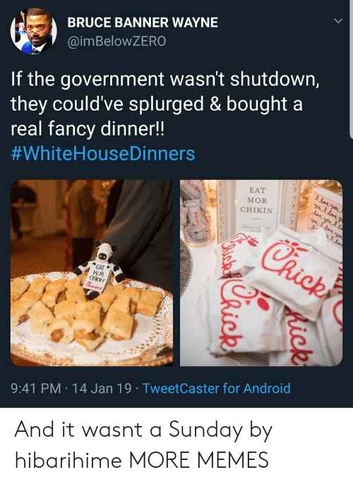 banner: BRUCE BANNER WAYNE  @imBeloWZERO  If the government wasn't shutdown,  they could've splurged & bought a  real fancv dinner!!  #whiteHouseDinners  EAT  MOR  CHIKIN  EAT  MOR  9:41 PM 14 Jan 19 TweetCaster for Android And it wasnt a Sunday by hibarihime MORE MEMES