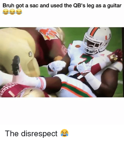 Bruh, Funny, and Guitar: Bruh got a sac and used the QB's leg as a guitar The disrespect 😂