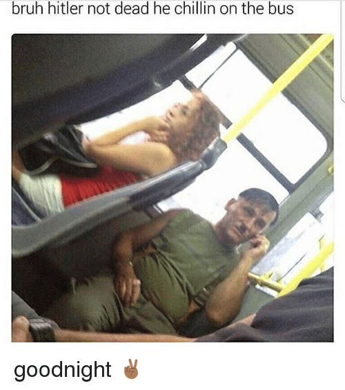 Bruh, Memes, and Hitler: bruh hitler not dead he chillin on the bus goodnight ✌🏾