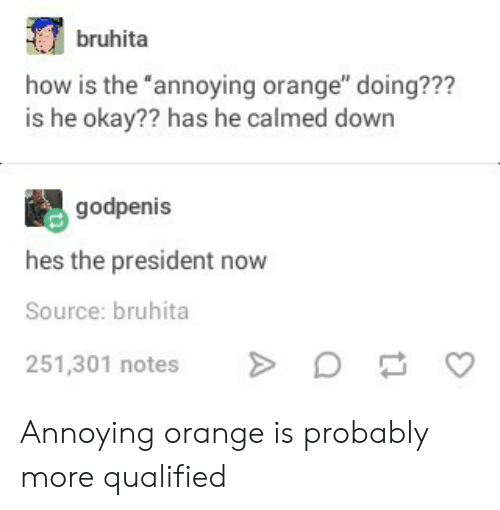 """President Now: bruhita  how is the annoying orange"""" doing???  is he okay?? has he calmed down  godpenis  hes the president now  Source: bruhita  251,301 notes Annoying orange is probably more qualified"""