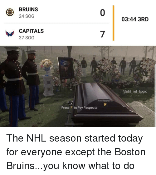 You Know What To Do: BRUINS  24 SOG  0  03:44 3RD  CAPITALS  37 SOG  7  @nhl_ref_logic  Pay Respec  Press F to Pay Respects The NHL season started today for everyone except the Boston Bruins...you know what to do