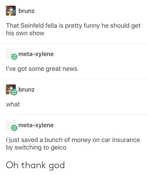 Seinfeld: brunz  That Seinfeld fella is pretty funny he should get  his own show  meta-xylene  I've got some great news  brunz  what  meta-xylene  I just saved a bunch of money on car insurance  by switching to geico Oh thank god