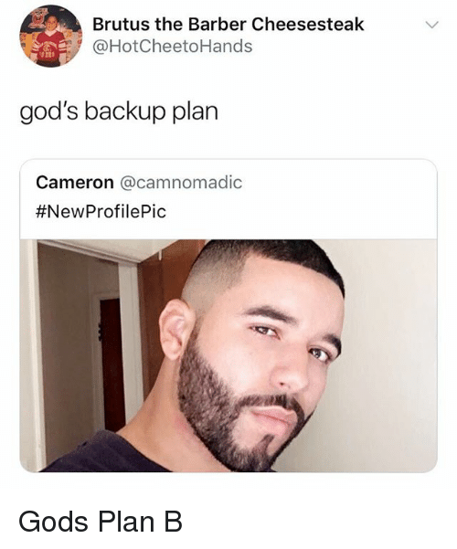 Barber, Plan B, and Girl Memes: Brutus the Barber Cheesesteak  @HotCheetoHands  god's backup plan  Cameron @camnomadic  Gods Plan B