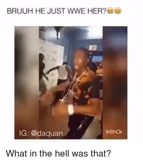 The Hell Was That: BRUUH HE JUST WWE HER?  IG: @daquan What in the hell was that?