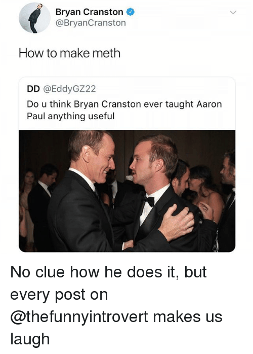 Bryan Cranston, Memes, and Aaron Paul: Bryan Cranston  @BryanCranston  How to make meth  DD @EddyGZ22  Do u think Bryan Cranston ever taught Aaron  Paul anything useful No clue how he does it, but every post on @thefunnyintrovert makes us laugh