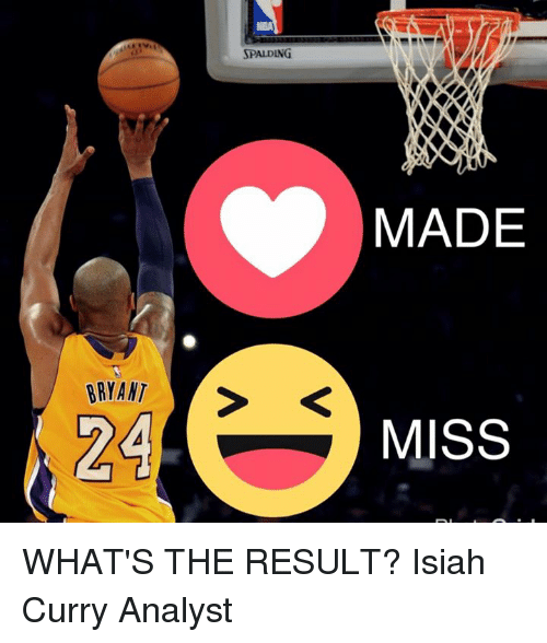 Memes, Nba, and 🤖: BRYANT  24  NBA  SPALDING  MADE  MISS WHAT'S THE RESULT?  Isiah Curry Analyst