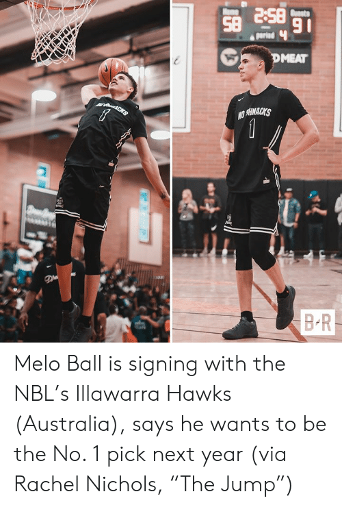 """ome: BS 8S  91  Buasts  ome  parind  DMEAT  vin&CHS  1  BR Melo Ball is signing with the NBL's Illawarra Hawks (Australia), says he wants to be the No. 1 pick next year  (via Rachel Nichols, """"The Jump"""")"""