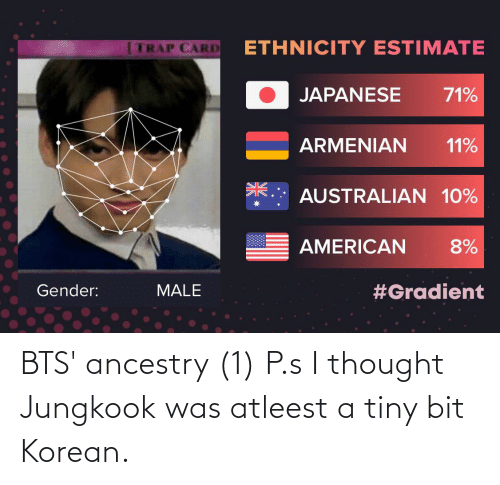 Jungkook: BTS' ancestry (1) P.s I thought Jungkook was atleest a tiny bit Korean.
