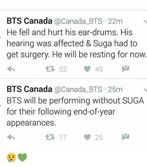 Affect, Canada, and Bts: BTS Canada  Canada BTS 22m  He fell and hurt his ear-drum  His  hearing was affected & Suga had to  get surgery. He will be resting for now  52  49  BTS Canada  Canada BTS 25m  BTS will be performing without SUGA  for their following end-of-year  appearances.  25 😢💚