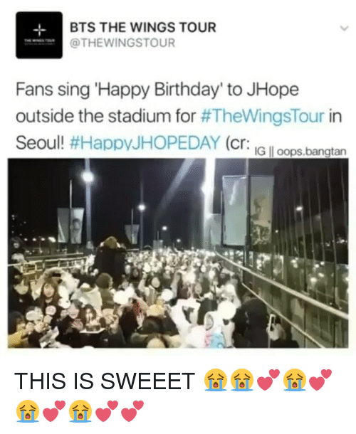 """Birthday, Happy Birthday, and Happy: BTS THE WINGS TOUR  OTHEWINGSTOUR  Fans sing 'Happy Birthday"""" to JHope  outside the stadium for  #TheWingsTour in  Seoul!  #Happy JHOPEDAY (cr  IG loops,bangtan THIS IS SWEEET 😭😭💕😭💕😭💕😭💕💕"""