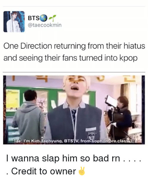 Slap Him: BTsO  ataecookmin  One Direction returning from their hiatus  and seeing their fans turned into kpop  Tae: Im Kim Taehvuna. BTS1V, from sopnombre,cla I wanna slap him so bad rn . . . . . Credit to owner✌