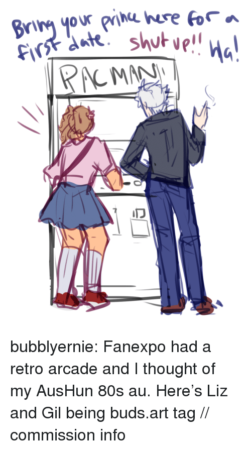 arcade: bubblyernie:  Fanexpo had a retro arcade and I thought of my AusHun 80s au. Here's Liz and Gil being buds.art tag // commission info