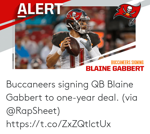 Signing: Buccaneers signing QB Blaine Gabbert to one-year deal. (via @RapSheet) https://t.co/ZxZQtlctUx