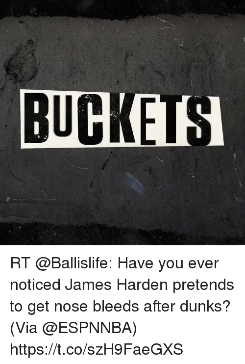 Sizzle: BUCKEIS RT @Ballislife: Have you ever noticed James Harden pretends to get nose bleeds after dunks?  (Via @ESPNNBA) https://t.co/szH9FaeGXS