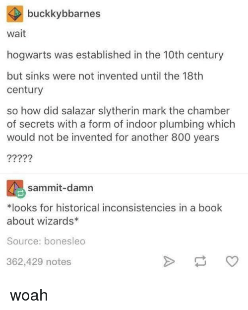 Salazar: buckkybbarnes  wait  hogwarts was established in the 10th century  but sinks were not invented until the 18th  century  so how did salazar slytherin mark the chamber  of secrets with a form of indoor plumbing which  would not be invented for another 800 years  sammit-damn  *looks for historical inconsistencies in a book  about wizards*  Source: bonesleo  362,429 notes woah