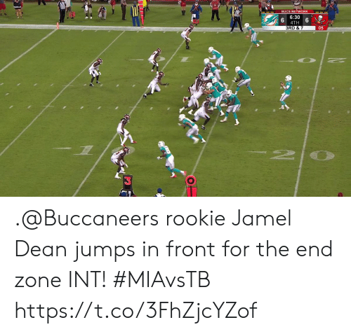 bucs: BUCS NETWORK  6:30  4TH  3RD & 7  05  2 .@Buccaneers rookie Jamel Dean jumps in front for the end zone INT!  #MIAvsTB https://t.co/3FhZjcYZof