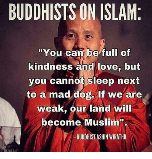 """Love, Memes, and Muslim: BUDDHISTS ON ISLAM  """"You can be full of  kindness and love, but  you cannot sleep next  to a mad dog. If we are  weak, our land will  become Muslim  BUDDHIST ASHIN MIRATHU"""