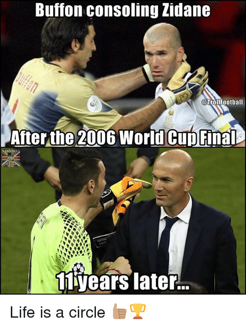 Buffones: Buffon consoling Zidane  TrollFootball  After the 2006 World Cup Final  11 years later... Life is a circle 👍🏽🏆