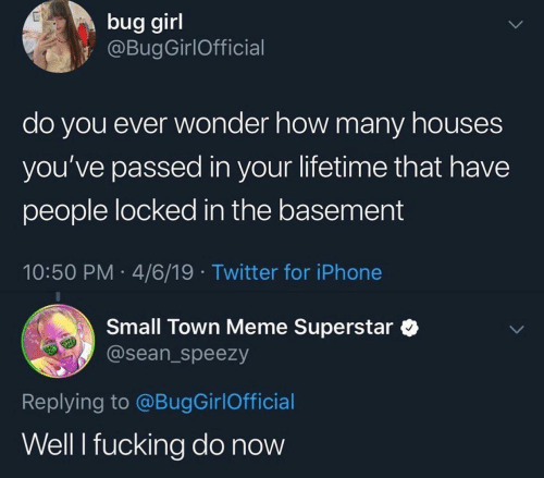 sean: bug girl  @BugGirlOfficial  do you ever wonder how many houses  you've passed in your lifetime that have  people locked in the basement  10:50 PM 4/6/19 Twitter for iPhone  Small Town Meme Superstar  @sean_speezy  Replying to @BugGirlOfficial  Well I fucking do now