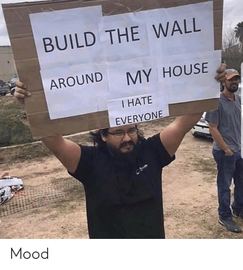 build-the-wall: BUILD THE WALL  AROUND  MY HOUSE  I HATE  EVERYONE Mood