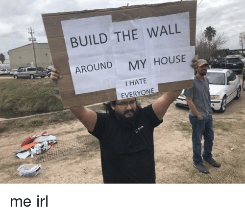 build-the-wall: BUILD THE WALL  AROUND  MY HOUSE  I HATE me irl