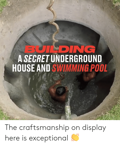 building a: BUILDING  A SECRET UNDERGROUND  HOUSE AND SWIMMING POOL The craftsmanship on display here is exceptional 👏