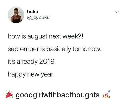 Memes, New Year's, and Happy: buku  @_bybuku  how is august next week?!  september is basically tomorrow.  it's already 2019.  happy new year. 🎉 goodgirlwithbadthoughts 💅🏼