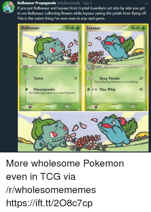 Bulbasaur, Pokemon, and Vine: Bulbasaur Propaganda @BulbaGanda Sep 2  If you put Bulbasaur and Ivysaur from Crystal Guardians set side by side you get  to see Bulbasaur collecting flowers while lvysaur saving the petals from flying off  This is the cutest thing I've ever seen in any card game.  Bulbasaur  50HP  Ivysaur  80 HP  Tackle  10  o  Sleep Powder  20  The Defending Pokémon is now Asleep.  e)  Poisonpowder  The Defending Pokémon is now Poisoned  Vine whip  40 More wholesome Pokemon even in TCG via /r/wholesomememes https://ift.tt/2O8c7cp