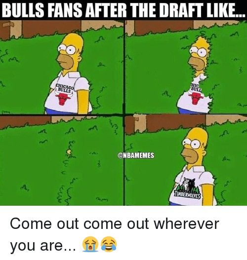 Nba, Bulls, and Timberwolves: BULLS FANS AFTER THE DRAFT LIKE...  BU  ICAG  BULLS  ONBAMEMES  TIMBERWOLVES Come out come out wherever you are... 😭😂