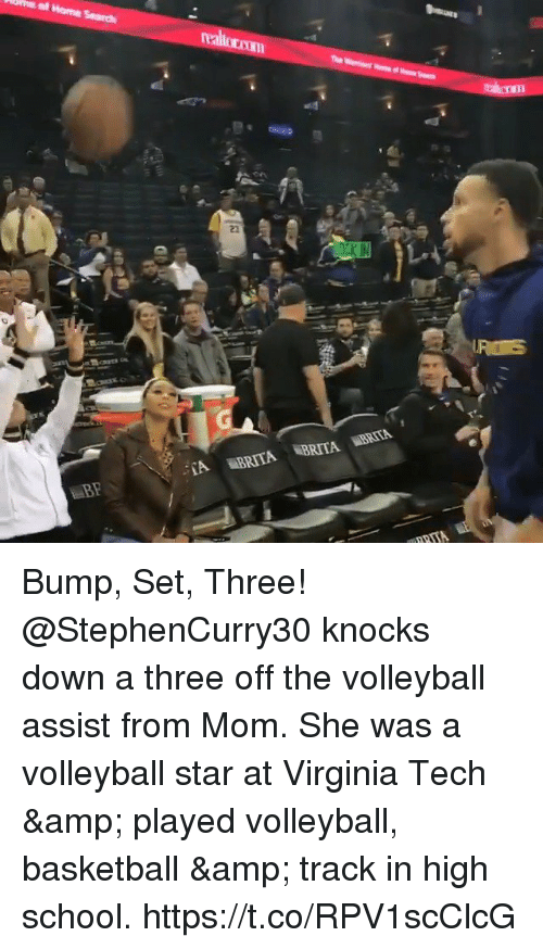 Volleyball: Bump, Set, Three!  @StephenCurry30 knocks down a three off the volleyball assist from Mom.  She was a volleyball star at Virginia Tech & played volleyball, basketball & track in high school. https://t.co/RPV1scClcG