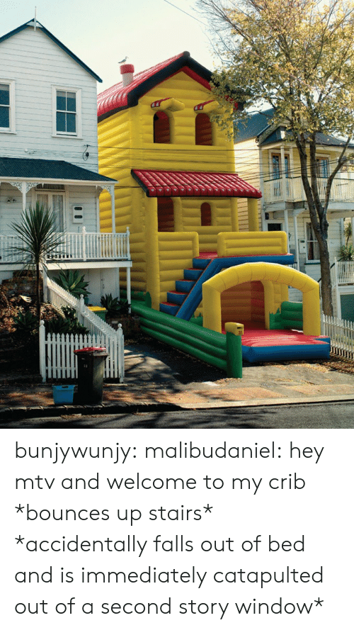 crib: bunjywunjy:  malibudaniel:  hey mtv and welcome to my crib *bounces up stairs*   *accidentally falls out of bed and is immediately catapulted out of a second story window*