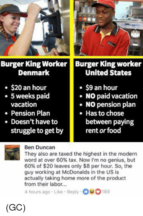 pension: Burger King WorkerBurger King worker  Denmark  United States  . $20 an hour  $9 an hour  NO paid vacation  5 weeks paid  vacation  . NO pension plan  Pension Plan  Has to chose  between paying  . Doesn't have to  struggle to get by  rent or food  Ben Duncan  They also are taxed the highest in the modern  word at over 60% tax. Now I'm no genius, but  60% of $20 leaves only $8 per hour. So, the  guy working at McDonalds in the US is  actually taking home more of the product  from their labor...  4 hours ago Like Reply 00189 (GC)