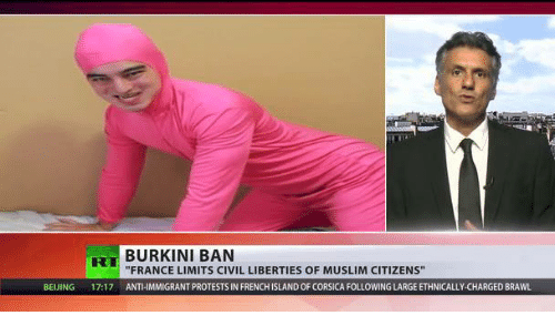 """Beijing, Muslim, and France: BURKINI BAN  """"FRANCE LIMITS CIVIL LIBERTIES OF MUSLIM CITIZENS""""  BEIJING  17:17  ANTHIMMIGRANTPROTESTS IN FRENCHISLANDOF CORSICA FOLLOWING LARGEETHNICALLY-CHARGED BRAWL"""