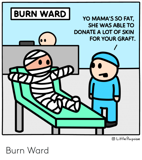 So Fat: BURN WARD  YO MAMA'S SO FAT,  SHE WAS ABLE TO  DONATE A LOT OF SKIN  FOR YOUR GRAFT  OLittle Porpoise Burn Ward