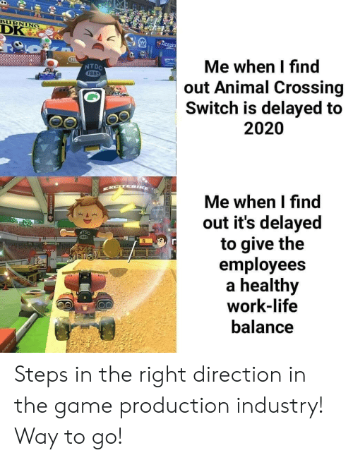 Delayed: BURNING  DK  Dream  Me when I find  out Animal Crossing  Switch is delayed to  2020  Ni  NTDO  1889  Me when I find  out it's delayed  to give the  employees  healthy  work-life  NTDO  balance Steps in the right direction in the game production industry! Way to go!
