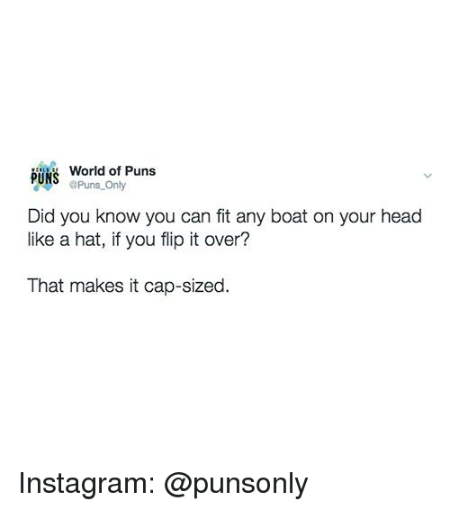 Head, Instagram, and Puns: bus World of Puns  Puns_Only  Did you know you can fit any boat on your head  like a hat, if you flip it over?  That makes it cap-sized. Instagram: @punsonly