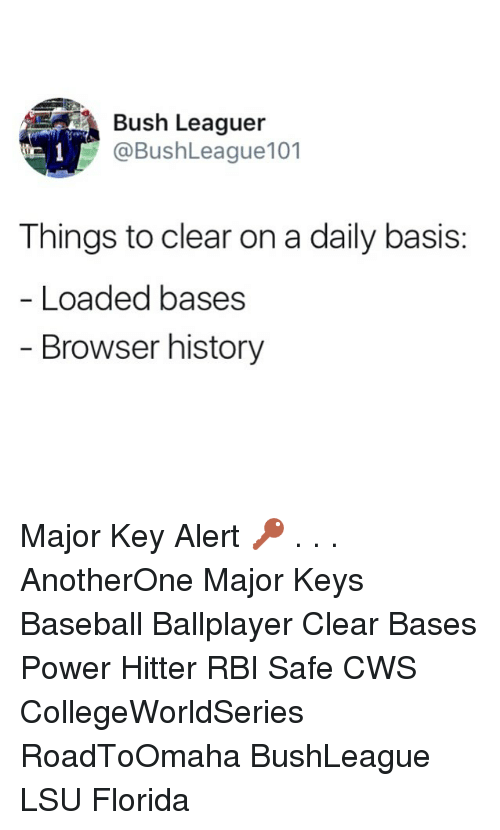 lsu: Bush Leaguer  @BushLeague101  Things to clear on a daily basis:  Loaded bases  Browser history Major Key Alert 🔑 . . . AnotherOne Major Keys Baseball Ballplayer Clear Bases Power Hitter RBI Safe CWS CollegeWorldSeries RoadToOmaha BushLeague LSU Florida