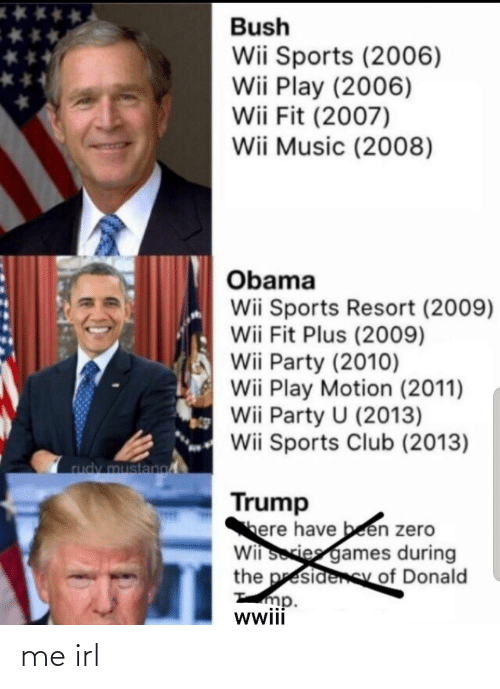 Club, Music, and Obama: Bush  Wii Sports (2006)  Wii Play (2006)  Wii Fit (2007)  Wii Music (2008)  Obama  Wii Sports Resort (2009)  Wii Fit Plus (2009)  Wii Party (2010)  Wii Play Motion (2011)  Wii Party U (2013)  Wii Sports Club (2013)  rudy mustano  Trump  here have been zero  Wii sories games during  the presidenSy of Donald  mp.  wwii me irl