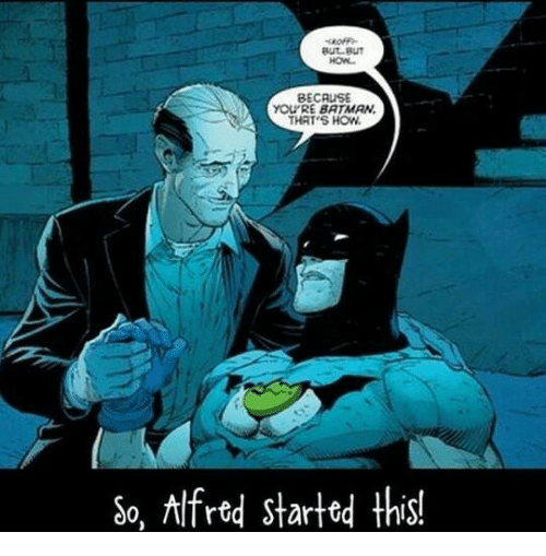Batman, Memes, and 🤖: But But  HON.  BECAUSE  you RE BATMAN  THAT'S HOW  So, Alfred started this!