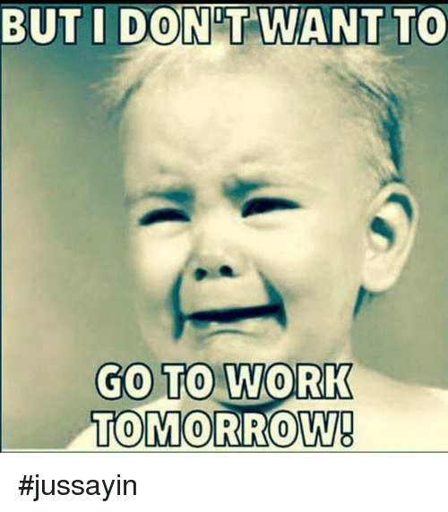 Dont Want To Go To Work: BUT I DONT WANT TO  GO TO WORK  TOMORROW #jussayin