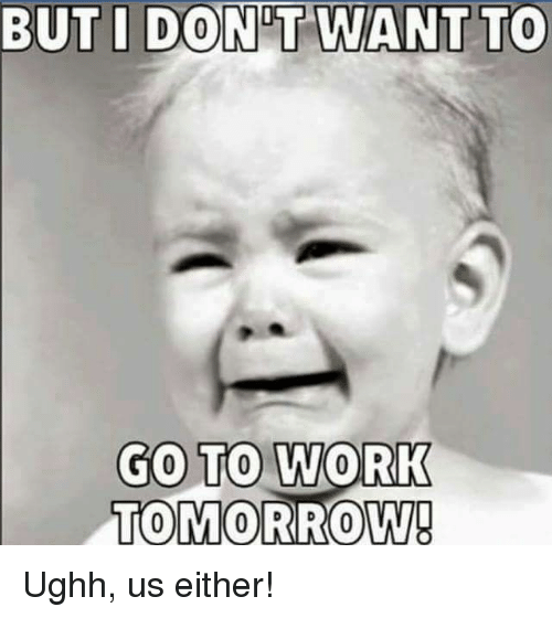 Dont Want To Go To Work: BUT I DONT WANT TO  GO TO WORK  TOMORROW! Ughh, us either!