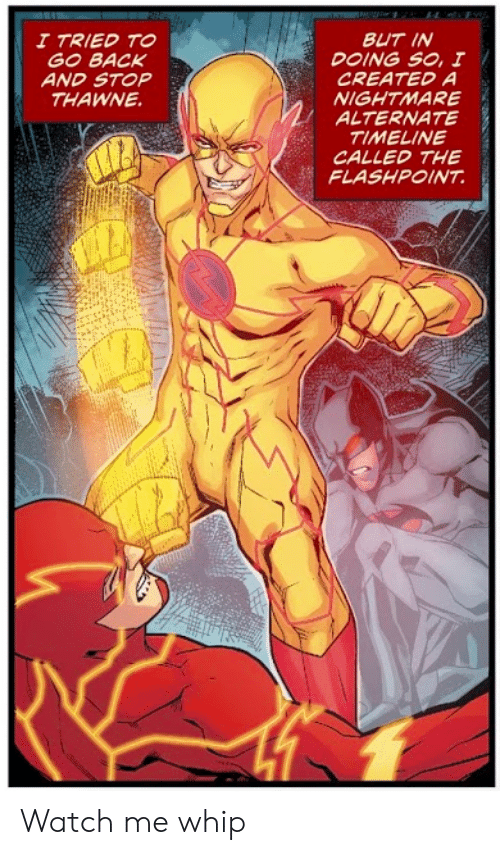Timeline: BUT IN  DOING SO, I  CREATED A  NIGHTMARE  ALTERNATE  TIMELINE  CALLED THE  FLASHPOINT  I TRIED TO  GO BACK  AND STOP  THAWNE Watch me whip