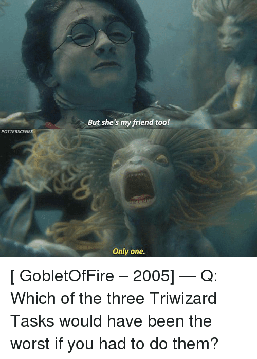 Memes, The Worst, and Only One: But she's my friend too!  POTTERSCENES  Only one. [ GobletOfFire – 2005] — Q: Which of the three Triwizard Tasks would have been the worst if you had to do them?