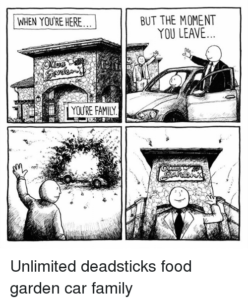 Family, Food, and Memes: BUT THE MOMENT  YOU LEAVE  WHEN YOU'RE HERE  YOU'RE FAMILY Unlimited deadsticks food garden car family