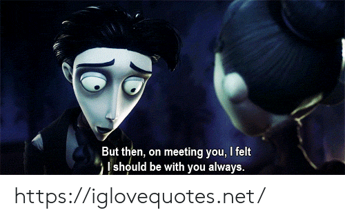 meeting: But then, on meeting you, I felt  should be with you always. https://iglovequotes.net/