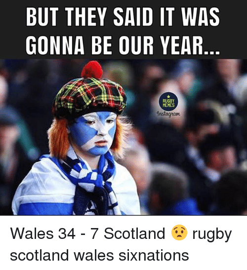 Memes, Scotland, and Rugby: BUT THEY SAID IT WAS  GONNA BE OUR YEAR  RUGBY  MEMES  am Wales 34 - 7 Scotland 😧 rugby scotland wales sixnations