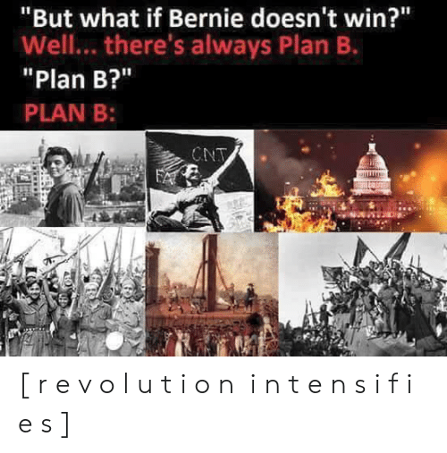 """Plan B: """"But what if Bernie doesn't win?""""  Well... there's always Plan B.  Plan B?""""  PLAN B:  CNT [ r e v o l u t i o n i n t e n s i f i e s ]"""