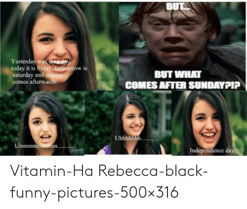 Vitamin Ha: BUT  Yesterday was tihuday  today it is friday, ommorow is  saturday and sunday  comes afterwards.  BUT WHAT  COMES AFTER SUNDAYPI?  Uhhhhhhh  Ummmmmin  Independence day Vitamin-Ha Rebecca-black-funny-pictures-500×316